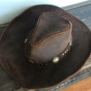 Leather Minnetonka Leather Cowboy Western Hat